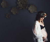 Moody boudoir maternity photos