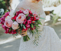 Modern pink bridal bouquet