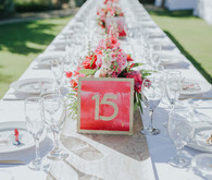 Hot pink table number