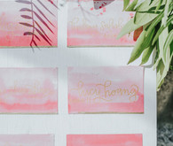 Pink watercolor escort cards