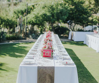 Pink and white tablescape