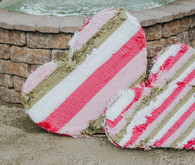 Pink and gold fringe hearts