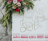 Pink and gold seating chart