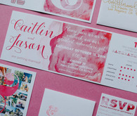 Modern pink wedding invitations