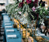 Modern blue tablescape