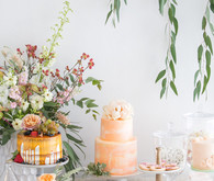 Spring dessert table for a bridal shower