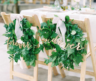Bride and groom chair wreaths