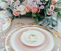Pink and gold place setting