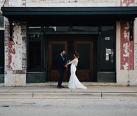 Industrial wedding inspiration at a Cadillac Service Garage