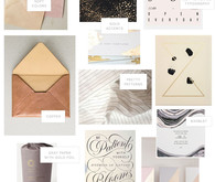 Mood board for modern, sophisticated wedding invites