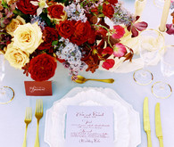 Red and gold place setting