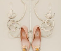 Uterqüe pink bridal shoes