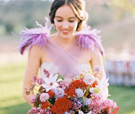 Purple feather wedding dress