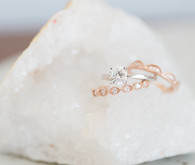 Diamond alternative engagement and wedding rings