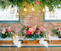 coral peony wedding tablescape