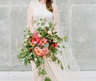elegant vintage wedding portraits with peony bouquet