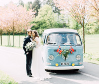 vintage VW van for wedding photos