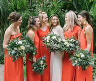 modern orange bridesmaid dresses
