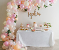 dessert table balloon installation