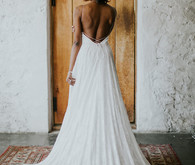 bridal gown with long full train