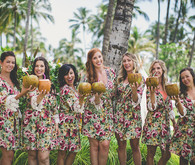 tropical print bridesmaid robes