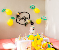 Modern whimsical lemonade stand 3rd birthday