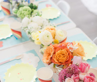 rainbow tablescape