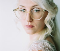 bride with clear frame glasses