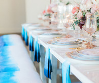 dip dyed blue wedding details
