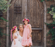 bride and flower girls in Mexican-inspired wedding