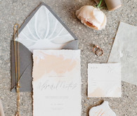 hand painted blush wedding invites