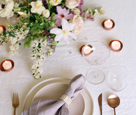 purple spring table setting