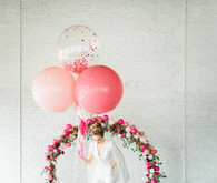 bridal shower floral balloon arch