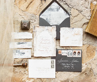 Romantic ruins inspired wedding invites