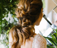 knotted pony tail bridal hair