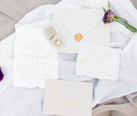 Romantic white wedding invites