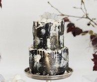 Black celestial inspired wedding cake