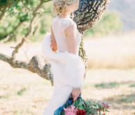 Beautiful bridal portrait with fur wrap