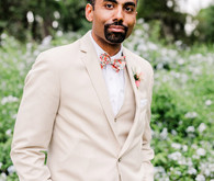 Groom in khaki suit