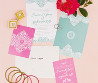 bright multi cultural wedding invites