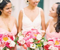 bride and bridesmaids in pink