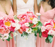 peony bride and bridesmaid bouquets