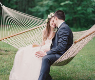 wedding portrait in a hammock