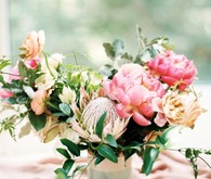Pink and white garden wedding flowers