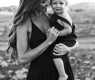 Black and white fashion-inspired family photos