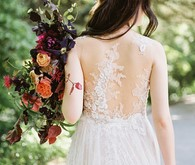 sheer lace back of wedding dress