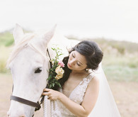 Bride and horse portrait
