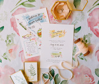 Floral hand painted wedding invites