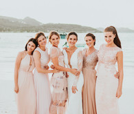 Blush French bridesmaid dresses in St Barth's