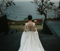 Floral wedding dress train in Bali